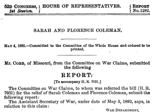 House Report no. 1282, 52nd Congress, 1st Session, 1892: Sarah and Florence Coleman.